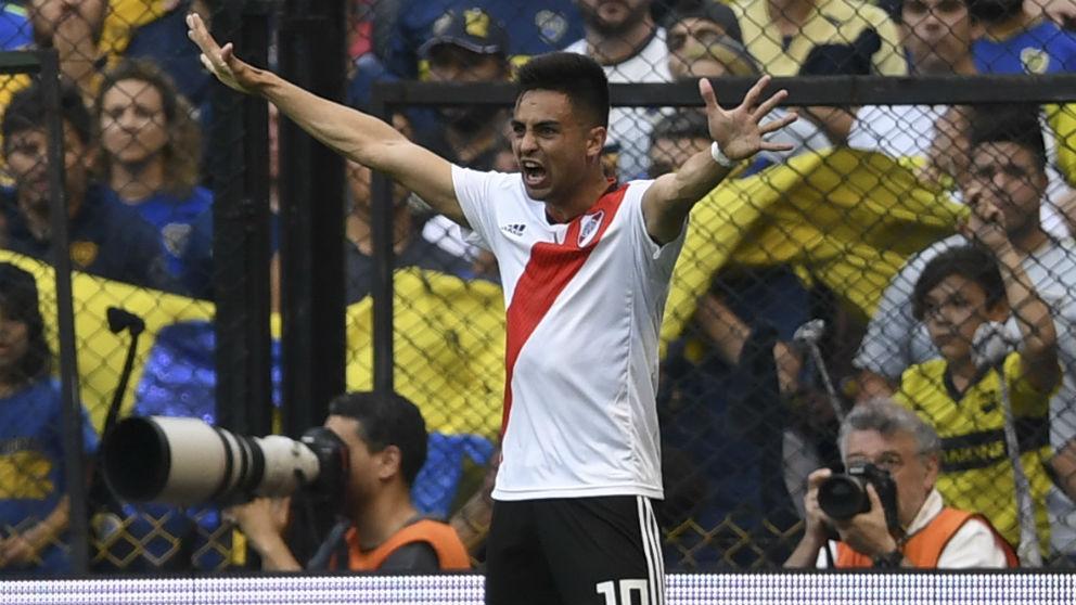 Pity Martínez celebra un gol en el Boca River de la final de la Libertadores. (AFP)