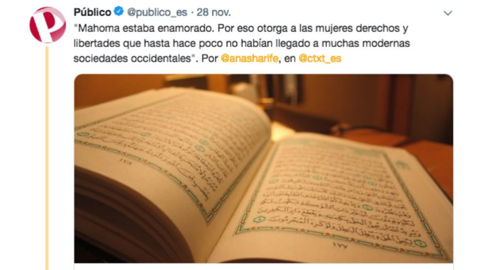 El diario de Roures dice que Mahoma era feminista y las mujeres tienen libertades envidiables en el Islam