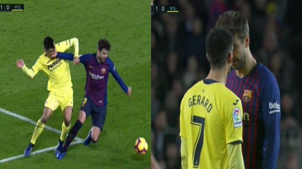 Tensión entre Gerard Moreno y Gerard Piqué en el Barcelona – Villarreal.
