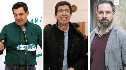 Juanma Moreno (PP), Juan Marín (C's) y Santi Abascal (VOX).