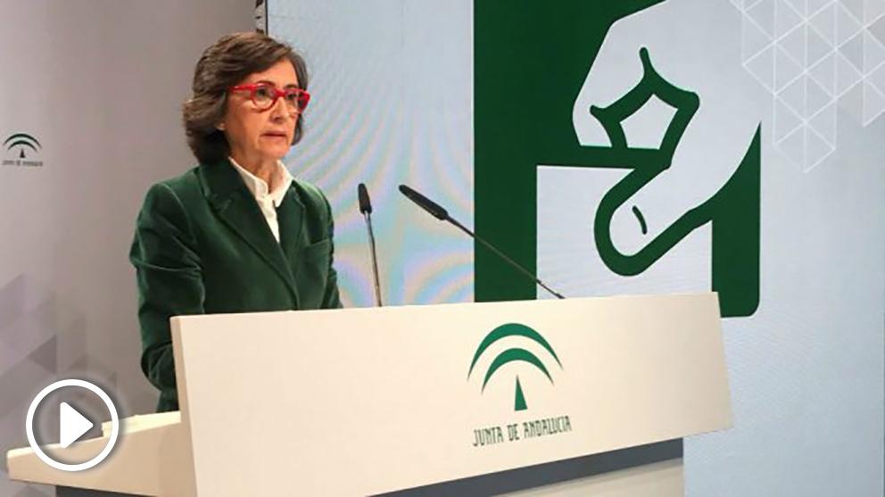 Rosa Aguilar comunicando las incidencias de la jornada electoral.