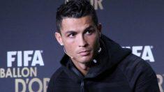 Cristiano Ronaldo en una rueda de prensa del Balón de Oro en 2017. (Getty)