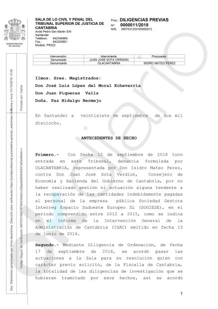 El consejero 'sanchista' de Revilla acude al juez en secreto por 90.000€ que pagó en sobresueldos