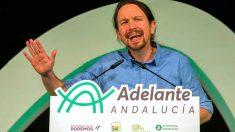 El líder de Podemos, Pablo Iglesias, durante un mítin de ADelante Andalucía. Foto: EFE