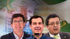 Los líderes de C's, PP y Vox en Andalucía: Juan Marín, Juanma Moreno y Francisco Serrano