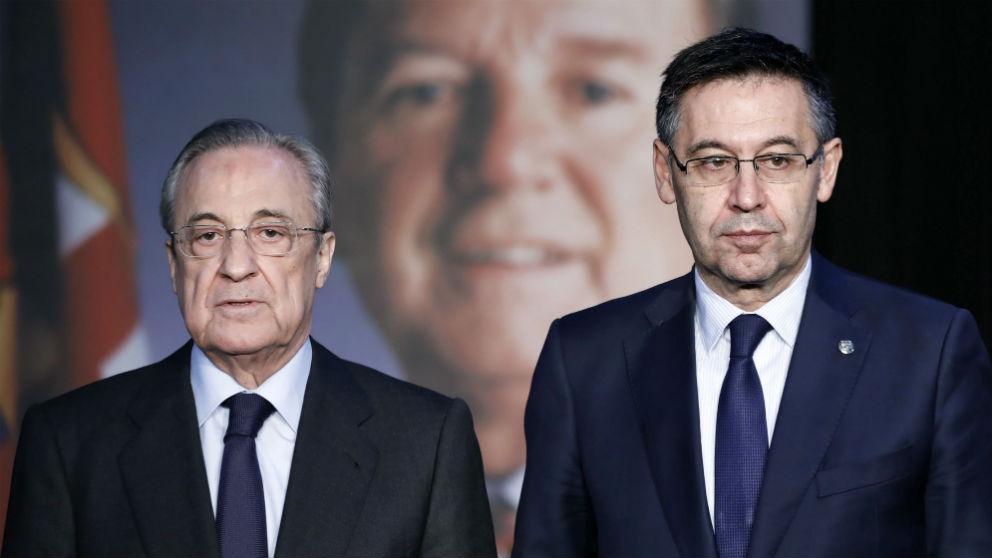 Florentino Pérez y Josep María Bartomeu en el memorial a José Luis Núñez. (EFE)