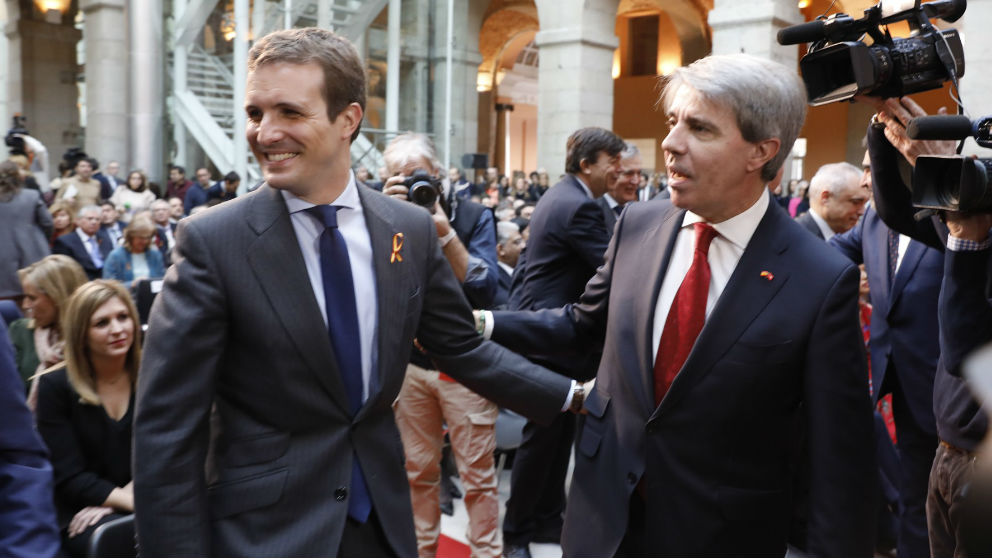 Pablo Casado y Ángel Garrido. (Foto: Europa Press)