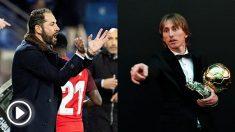 Pablo Machín y Luka Modric.