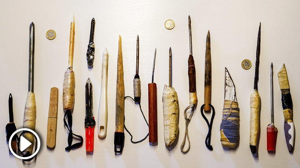 Armas requisadas a los presos.