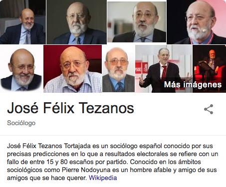 """Wikipedia define a Tezanos como el sociólogo """"con fallos de entre 15 y 80 escaños por partido"""""""