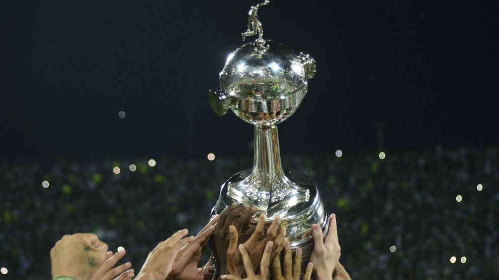 Una imagen del trofeo de la Copa Libertadores que se juega este domingo en el River-Boca. (AFP)