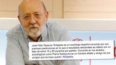 El presidente del Centro de Investigaciones Sociológicas (CIS), José Félix Tezanos, y su descripción provisional en Wikipedia