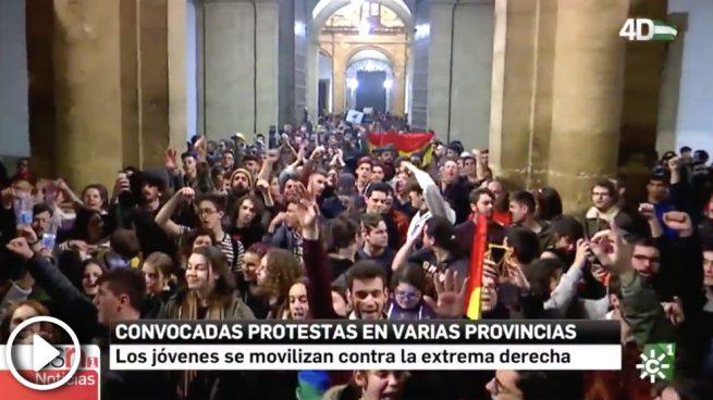 Canal Sur identifica a VOX con el fascismo y jalea las protestas provocadas por Iglesias