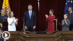 """El Rey Felipe VI ha sido despedido con aplausos y gritos de """"¡Viva el Rey!"""" y de """"¡Viva España!"""" con motivo del 40 aniversario de la Constitución"""
