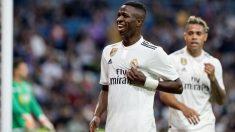 Vinicius celebra un gol en el Real Madrid. (EFE)