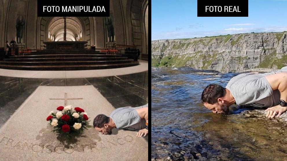 A la izquierda, la foto manipulada difundida por los independentistas, y a la derecha la foto original de Abascal bebiendo en las aguas del Río Nervión.