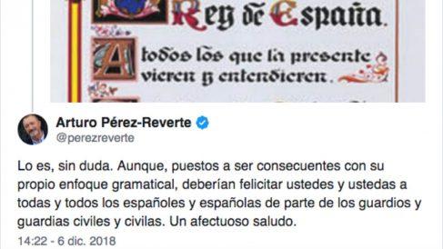 Mensaje publicado por el escritor Arturo Pérez-Reverte (RAE) en Twitter.