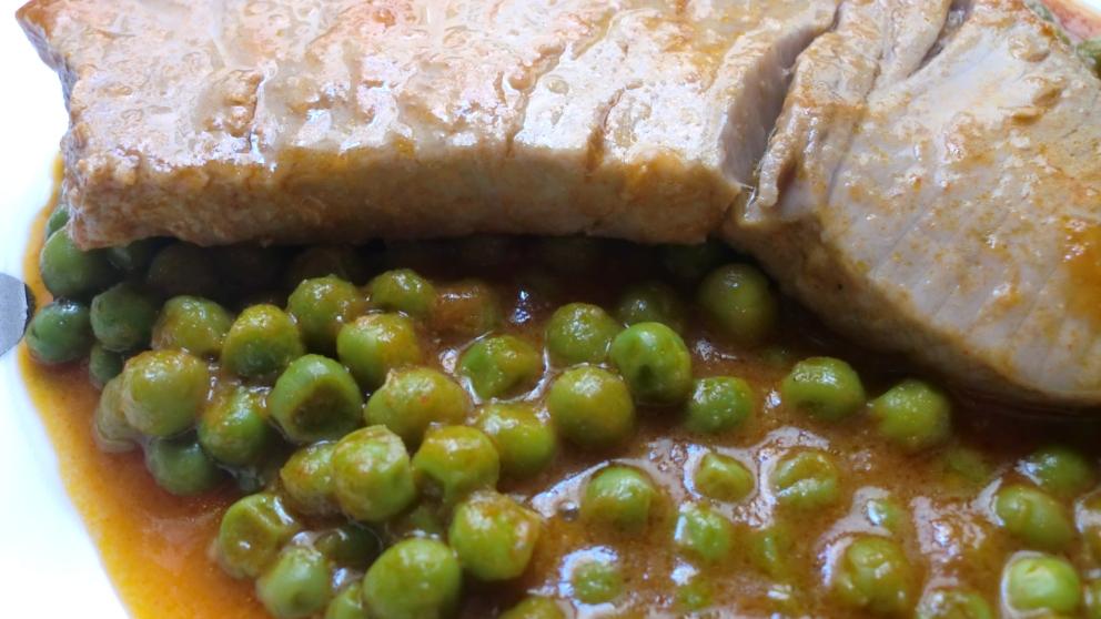 Receta de atún estofado con guistantes