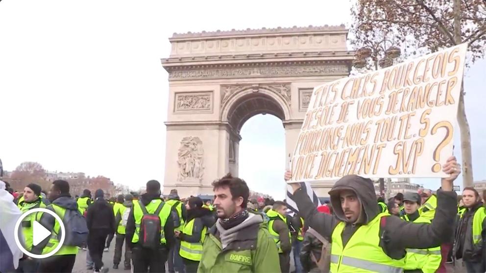 Chalecos amarillos en París.
