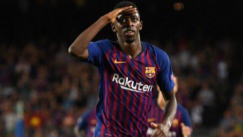 Dembélé celebra un gol con el Barcelona.