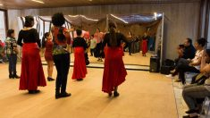 Gitanos bailan flamenco.