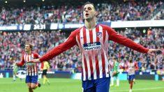 Kalinic celebra un gol con el Atlético esta temporada.(Getty)