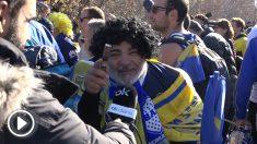 La afición de Boca Juniors da colorido a Madrid.