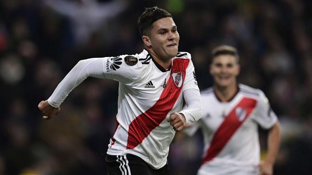 Juan Quintero, el héroe de la final de la Libertadores en el Bernabéu. (AFP)