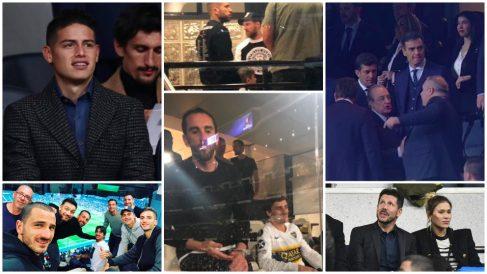 Messi, Griezmann, Simeone, James o Dybala en el palco del Bernabéu.