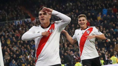 Quintero celebra su gol en la Libertadores. (EFE)