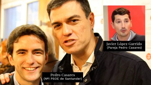 Pedro Casares, número uno del PSOE de Santander junto a su pareja, Javier López Garrido
