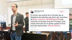 El ex dircom de la ANC, Adrià Alsina, junto al tuit en el que pide que los CDR actúen como policía fronteriza