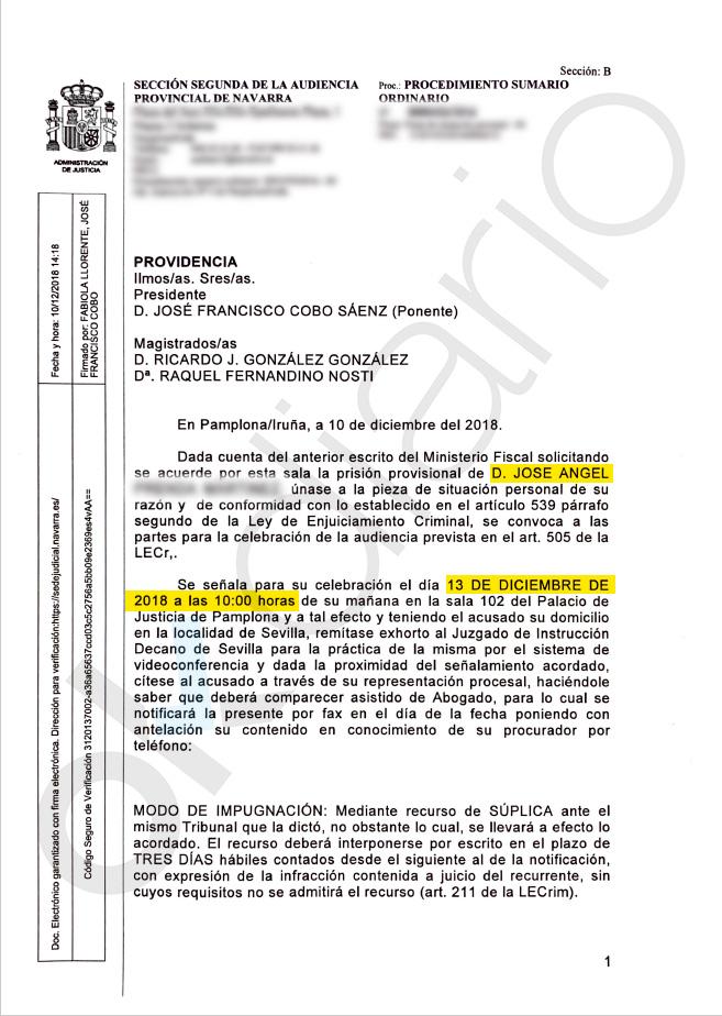 La Audiencia de Navarra decidirá el 13 de diciembre si 'La Manada' ingresa en prisión provisional