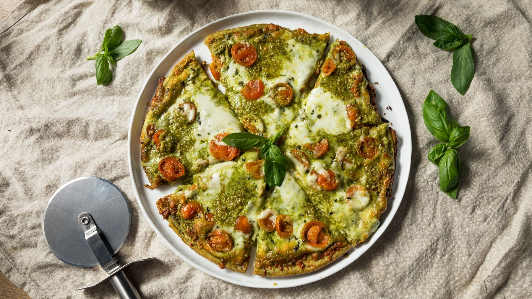 Receta de pizza de gorgonzola y pesto