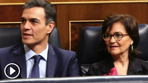 Pedro Sánchez con Carmen Calvo. (Foto. PSOE)