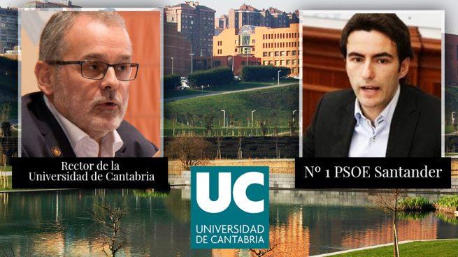 El rector de la Universidad de Cantabria, Ángel Pazos junto al socialista Pedro Casares