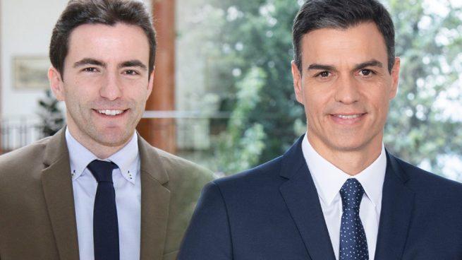El líder del PSOE en Santander, Pedro Casares, junto a Pedro Sánchez
