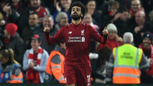 Salah celebra su gol al Nápoles. (AFP)