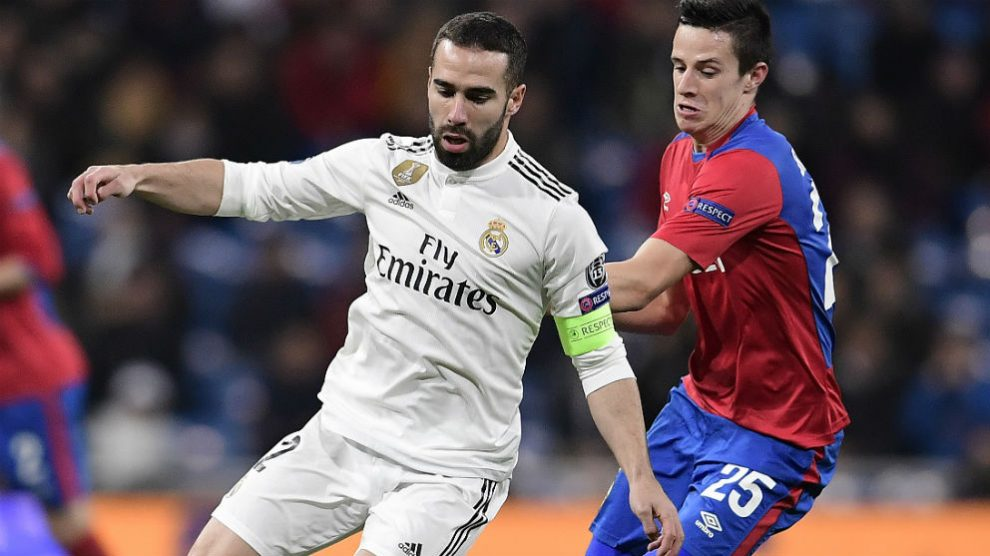 Dani Carvajal, durante el Real Madrid – CSKA. (AFP)