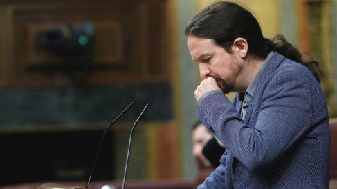 El líder de Podemos, Pablo Iglesias, en el Congreso de los Diputados. (Foto: Efe)