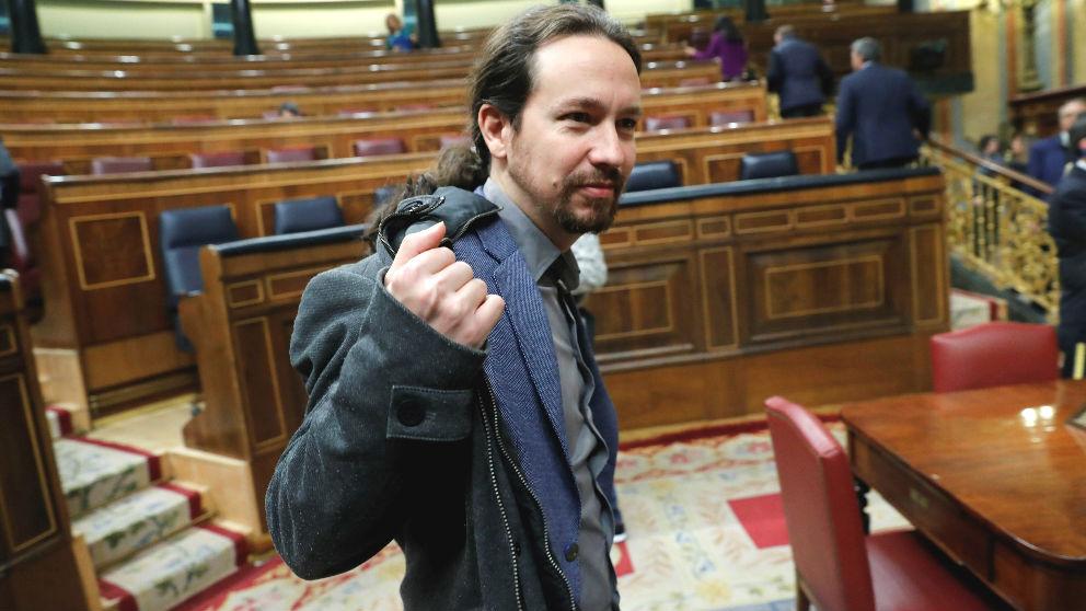 El líder de Podemos, Pablo Iglesias, en el Congreso. (Foto: Efe)