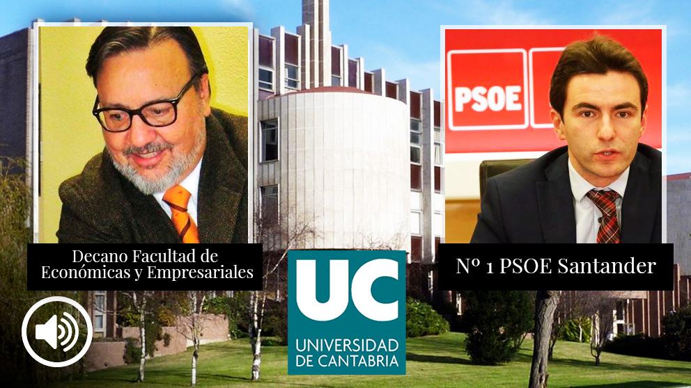El decano de la Universidad de Cantabria, Pablo Coto, junto al socialista implicado en la falsificación de firmas, Pedro Casares