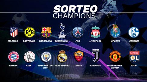 Los 16 equipos clasificados para octavos de final de la Champions League.