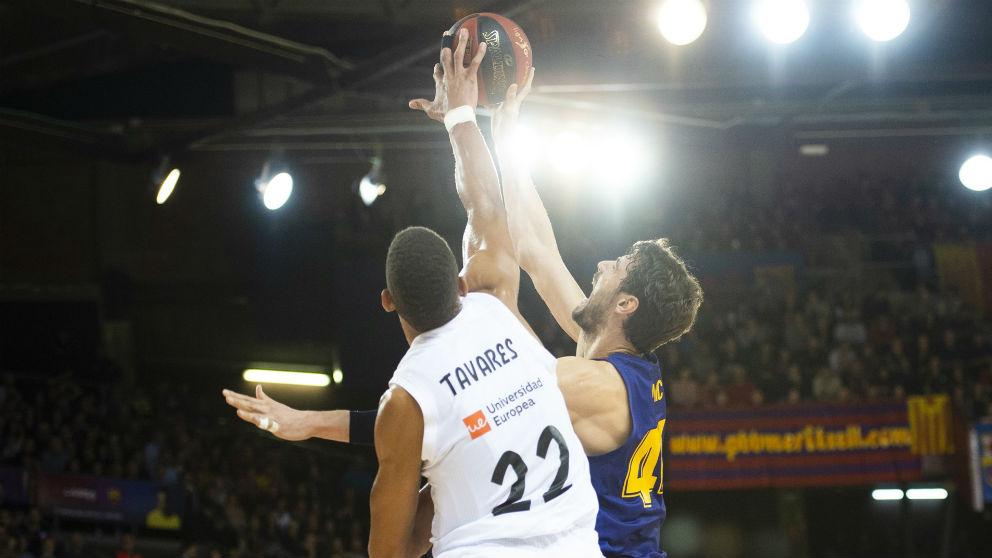 Tavares y Tomic disputan un balón. (Europa Press)