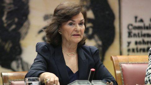 Carmen Calvo este jueves en el Senado (RRSS).