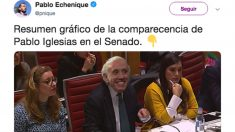 Tuit publicado por el secretario de Organización de Podemos, Pablo Echenique.