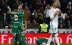 Los jugadores del Leganés celebran un gol aquella noche.