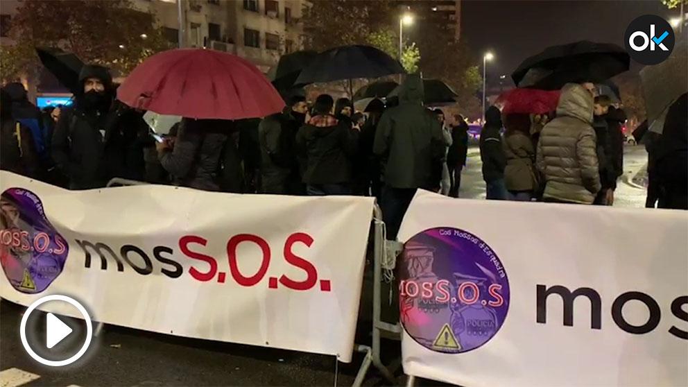 Concentración de los Mossos, en Barcelona.