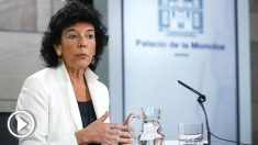 La ministra de Educación, FP y Portavocía del gobierno Isabel Celaá, durante la rueda de prensa porterior al Consejo de Ministros (Foto: Efe)