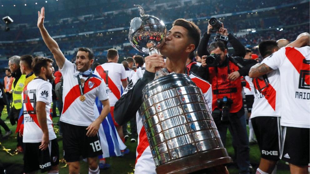 Exequiel Palacios, tras ganar la Libertadores en el Bernabéu. (Getty)